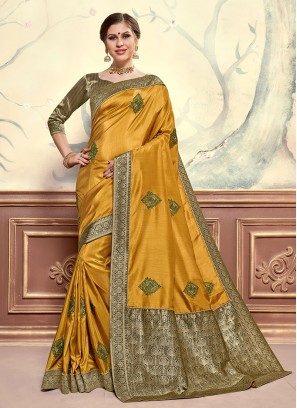 Mustard Color Designer Saree With Unstitched Blouse