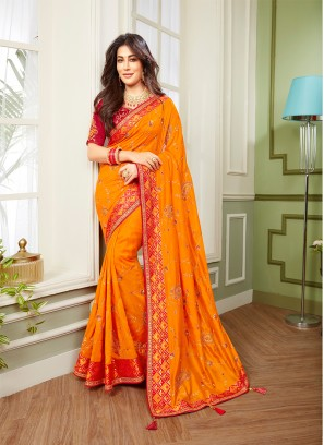 Mustard Color Embroidered Indian Saree