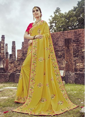 Mustard Color Embroidered Wedding Wear Saree