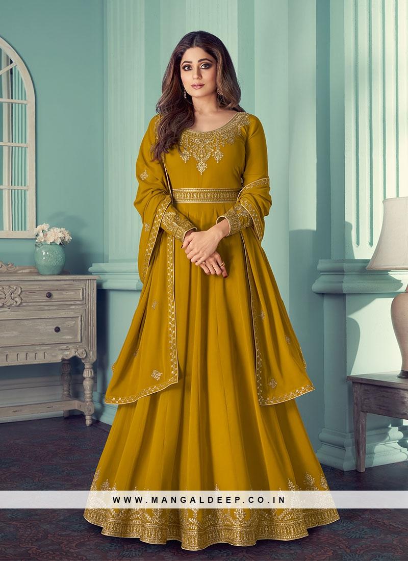 Mustard Color Georgette Floor Length Suit