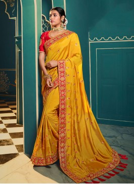 Mustard Color Party Wear Embroidered Saree