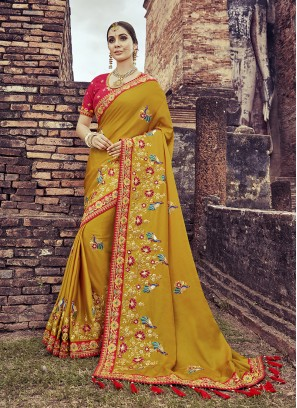 Mustard Color Peacock Embroidered Saree