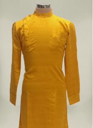 Mustard Color Polyster Mens Kurta