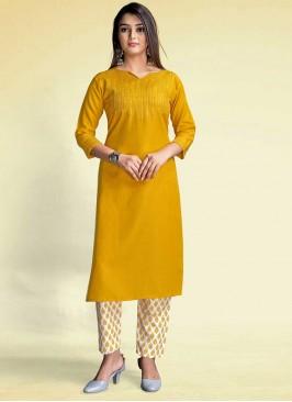 Mustard Color Rayon Kurti Pant Set