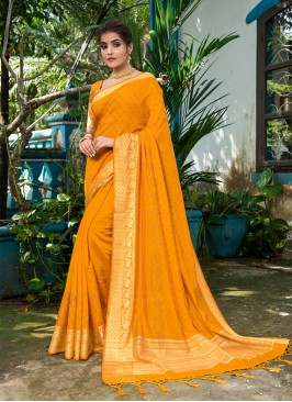 Mustard Color Resham Silk Saree