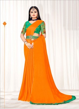 Mustard Color Saree With Belt