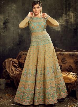 Mustard Color Silk Embroidered Anarkali Dress