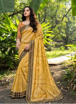 Mustard Color Silk Latest Saree