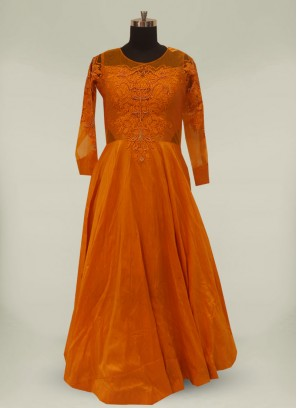Mustard Color Silk Thread Work Long Gown