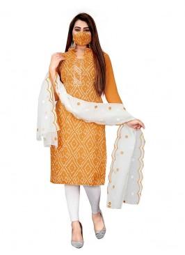 Mustard Color Slub Cotton Bandhni Print Suit