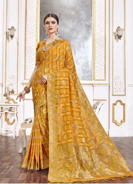 Mustard Color Viscose Wedding Saree
