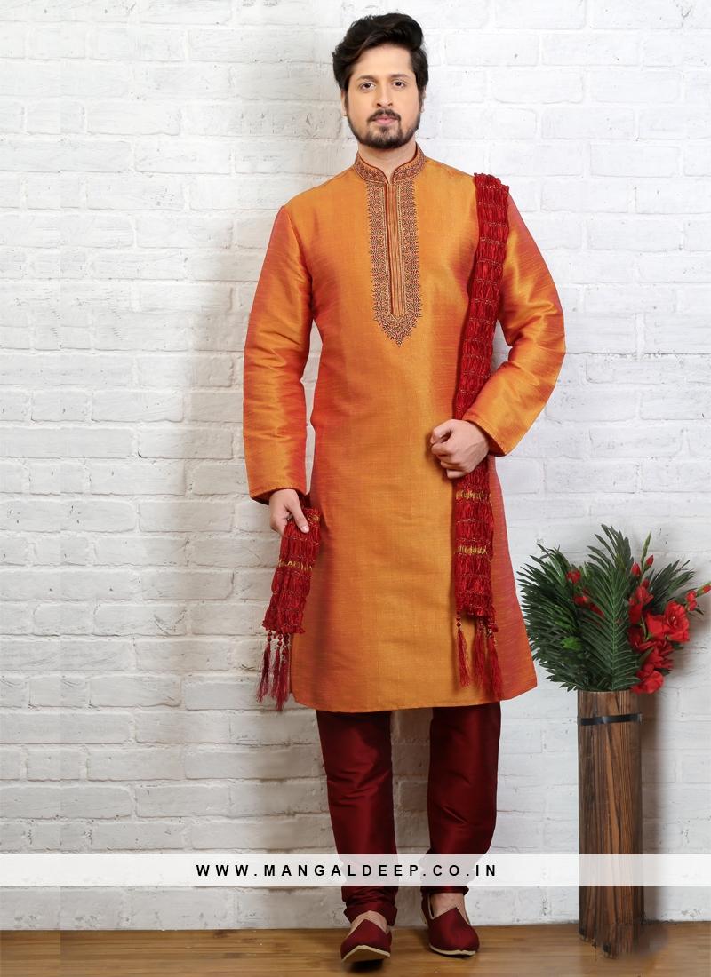 Mustard Kurta Pajama For Sangeet Function