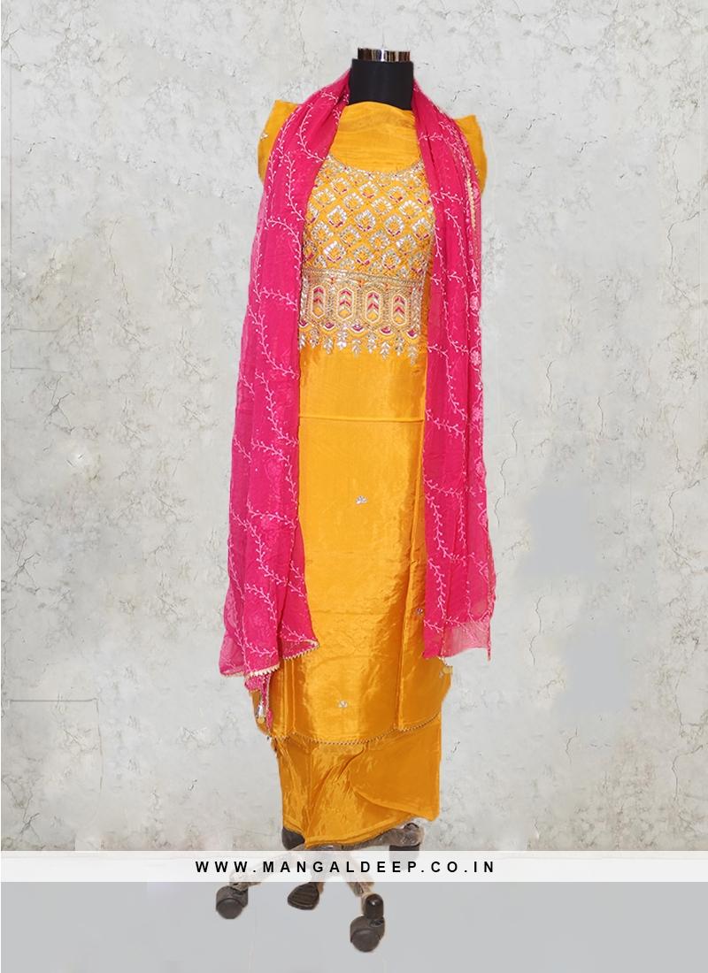 Mustard Yellow Crepe Silk Hand Work Salwar Kameez