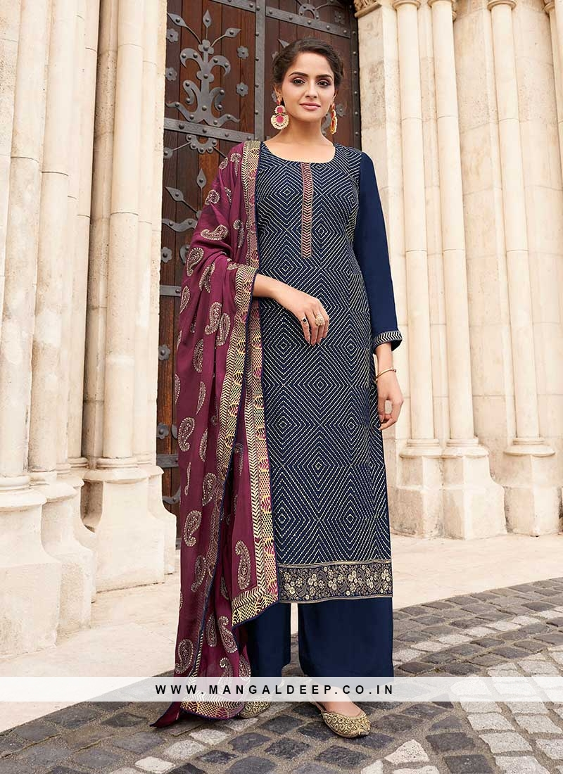 Navy Blue Color Chinnon Palazzo Suit