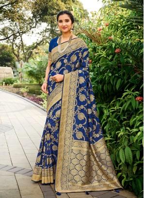 Navy Blue Color Designer Saree