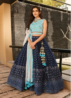 Navy Blue Color Embroidered Fancy Lehenga