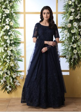 Navy Blue Color Embroidered Floor Length Gown