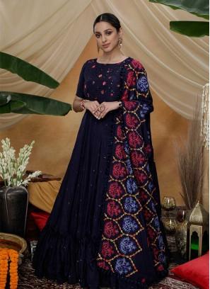 Navy Blue Color Georgette Anarkali Gown