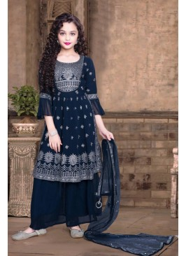 Navy Blue Color Georgette Palazzo Set Kids