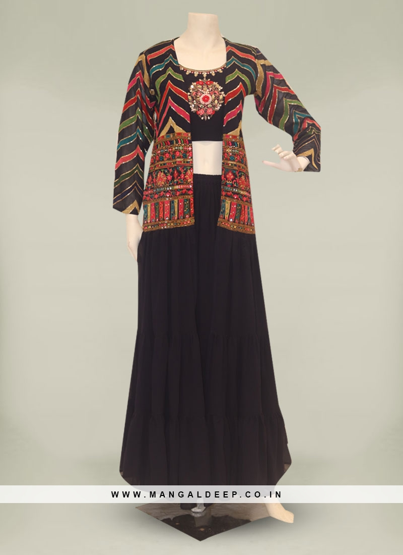 Navy Blue Color Georgette Palazzo Set With Jacket