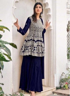 Navy Blue Color Georgette Sharara Suits