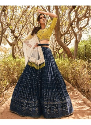 Navy Blue Color Mirror Work Designer Lehenga Choli