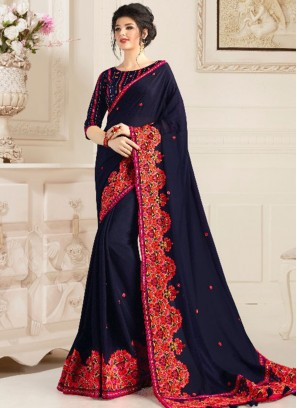 Navy Blue Color Natural Fabric Party Wear Saree