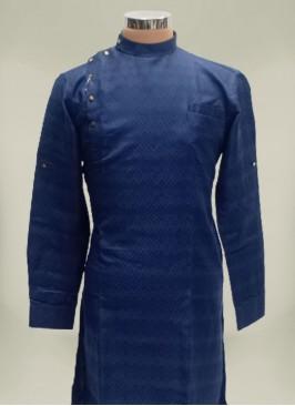 Navy Blue Color Polyster Mens Kurta