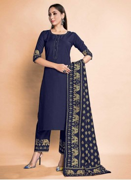 Navy Blue Color Rayon Ladies Dress