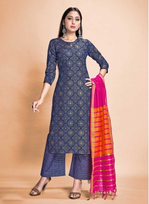 Navy Blue Color Rayon Readymade Suit
