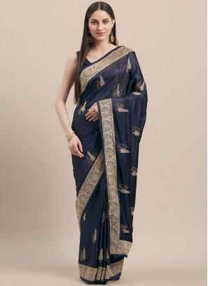Navy Blue Color Satin Silk Festive Wear Saree