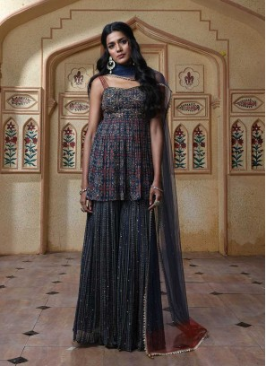 Navy Blue Color Sharara Suit