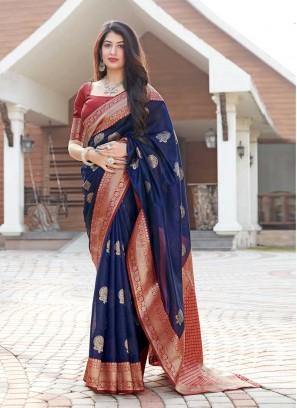 Navy Blue Color Silk Girl Saree