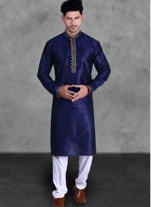 Navy Blue Color Silk Kurta Payjama