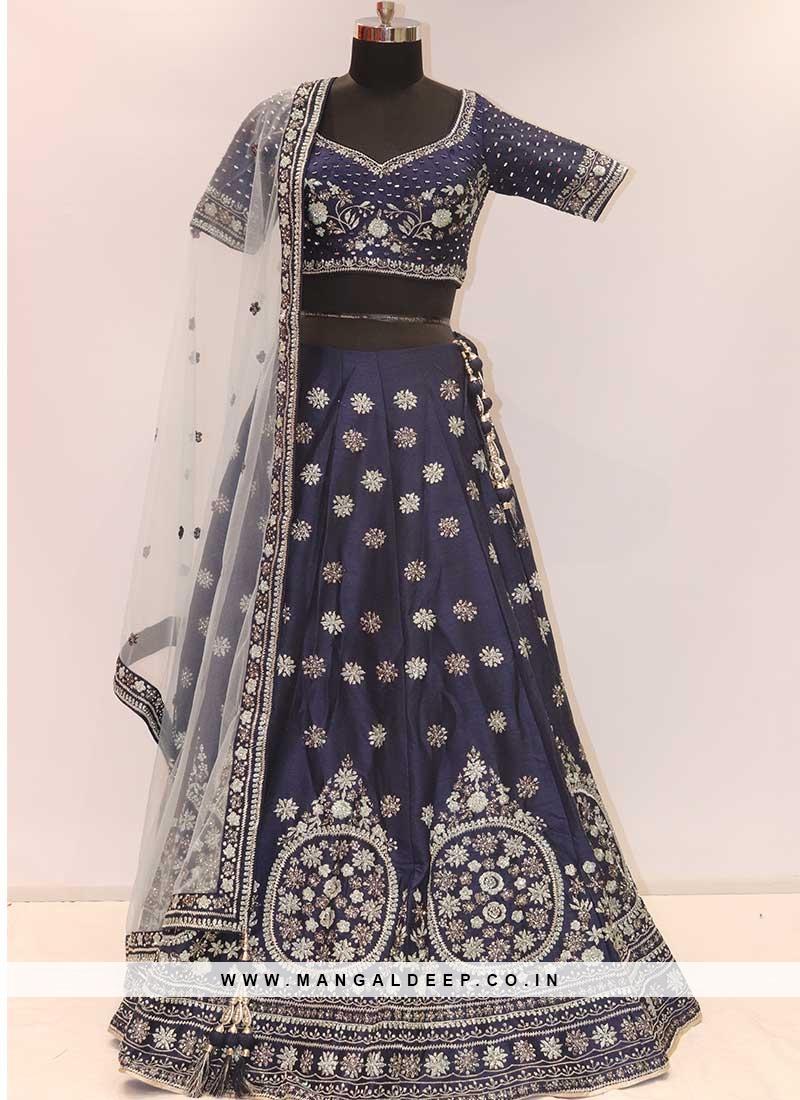 Navy Blue Color Silk Wedding Wear Lehenga