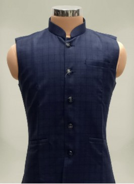 Navy Blue Cotton And Polyster Mens Koti