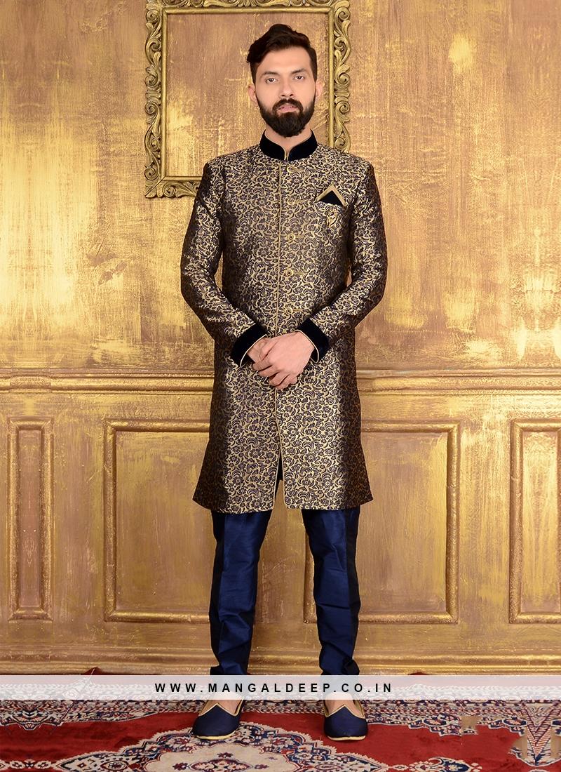 Navy Blue Designer Men's Indo Western Sherwani