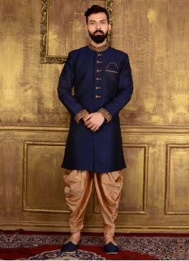 Navy Blue Men's Panjabi Suit
