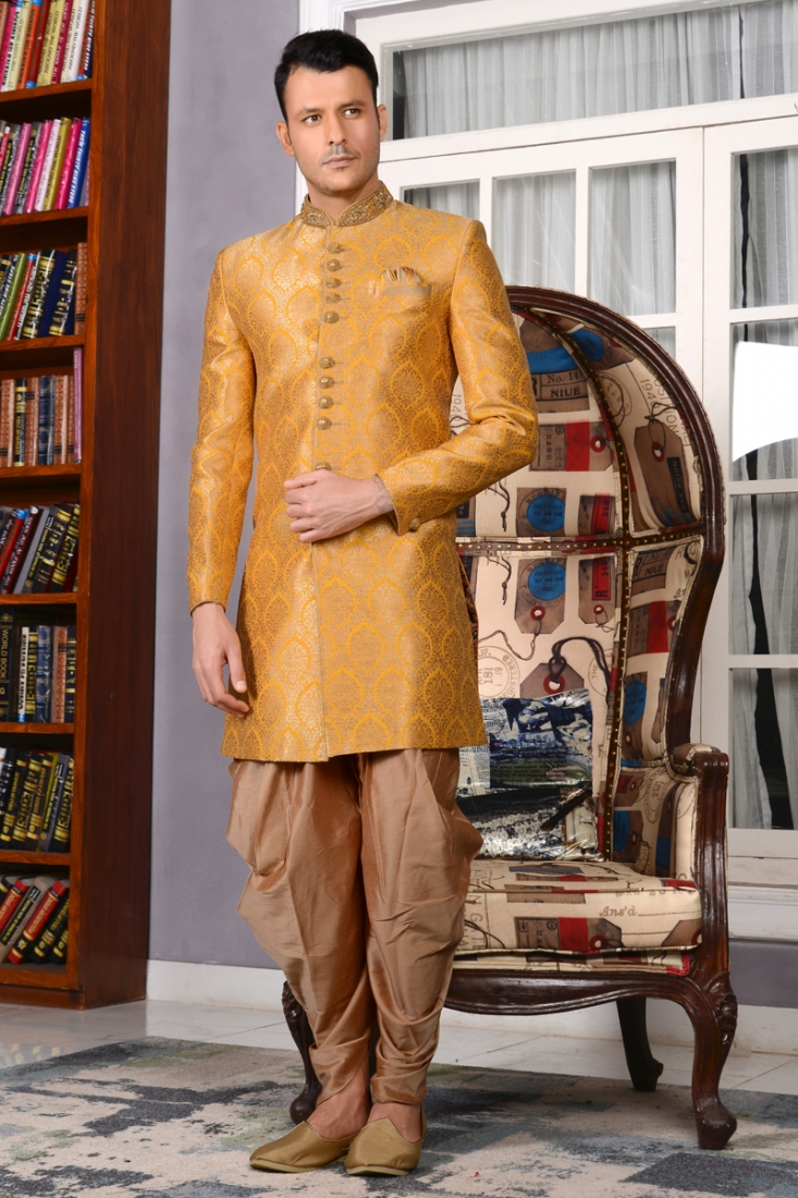 Nawabi Indo Westren Sherwani With The Touch Of Yellow Colour