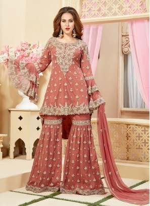 Net Fabric Diamond Work Designer Plazzo Suit