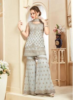 Net Hand Work Designer Plazzo Suit