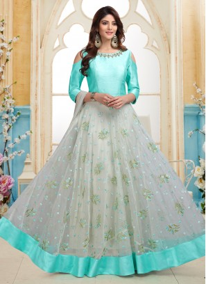 Off White and Turquoise Embroidered Stylish Party Wear Readymade Anarkali Suit
