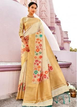 Off White Color Banarasi Silk Saree