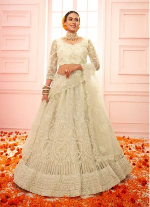 Off White Color Embroidered Net Lehenga
