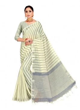 Off White Color Linen Dazzling Saree