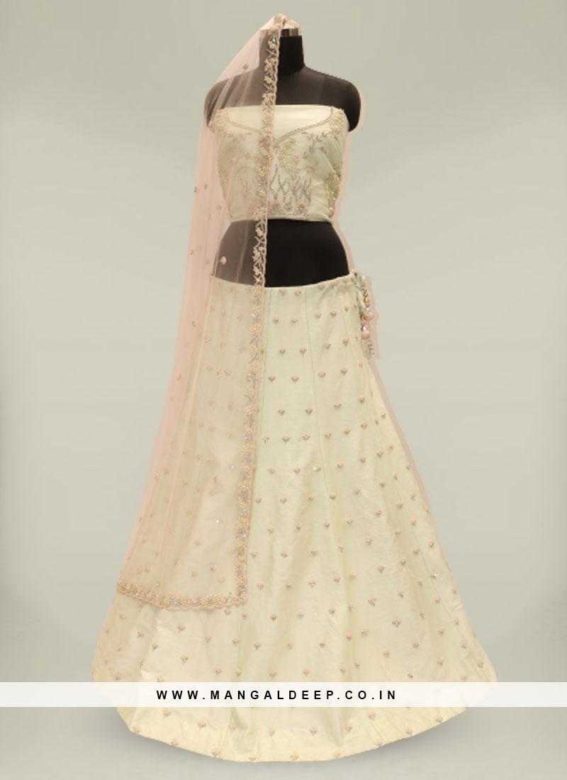 Off White Color Pure Silk Wedding Lehenga