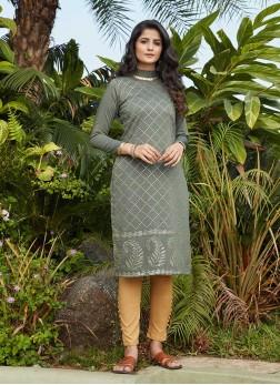 Olive Green Color Cotton Silk Kurti