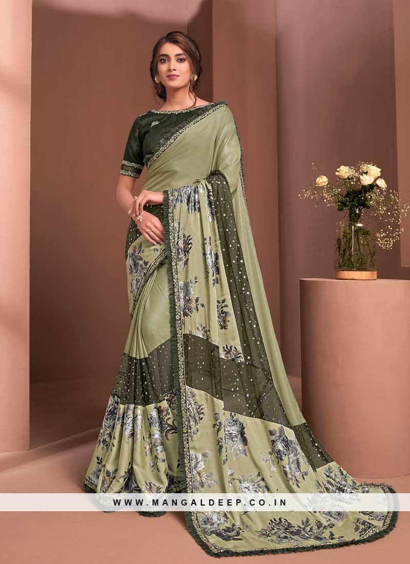 Olive Green Color Floral Design Saree