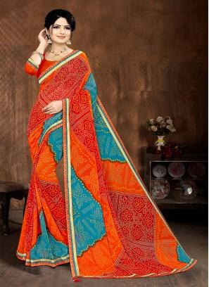Orange And Blue Bandhani Saree