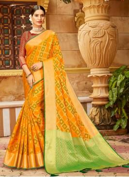 Orange And Green Color Silk Saree